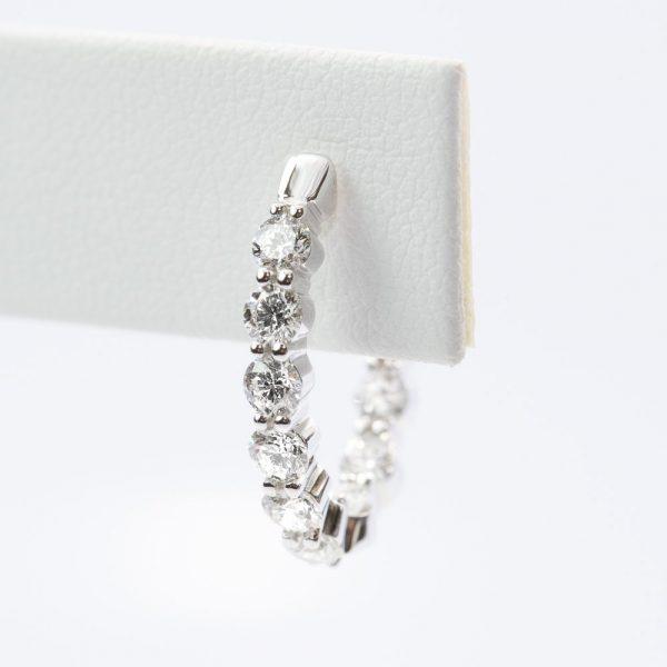 18k White Gold Natural Diamond Inside-Out Hoop Earrings