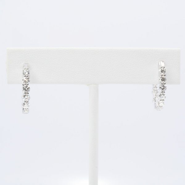 18k White Gold Natural Diamond Inside-Out Hoop Earrings
