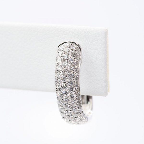 18k White Gold Natural Diamond Pave Hoop Earrings