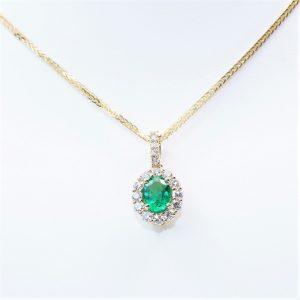 18k Yellow Gold Natural Emerald and Diamond Halo Pendant