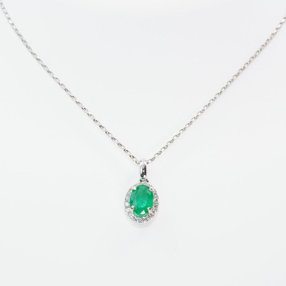 14k White Gold Natural Emerald and Diamond Halo Pendant