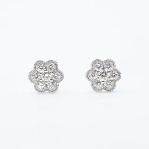14k White Gold Natural Diamonds Cluster Earrings