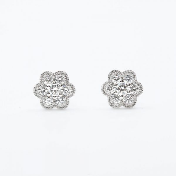 14k White Gold Natural Diamonds Cluster Earrings