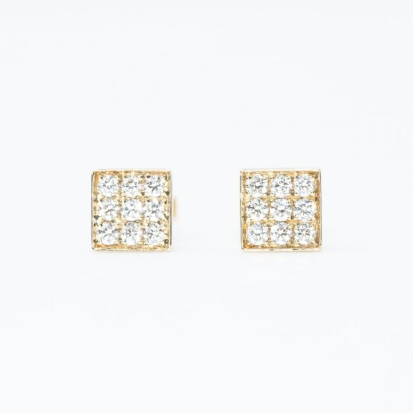 14k Yellow Gold Natural Diamond Square Stud Earrings