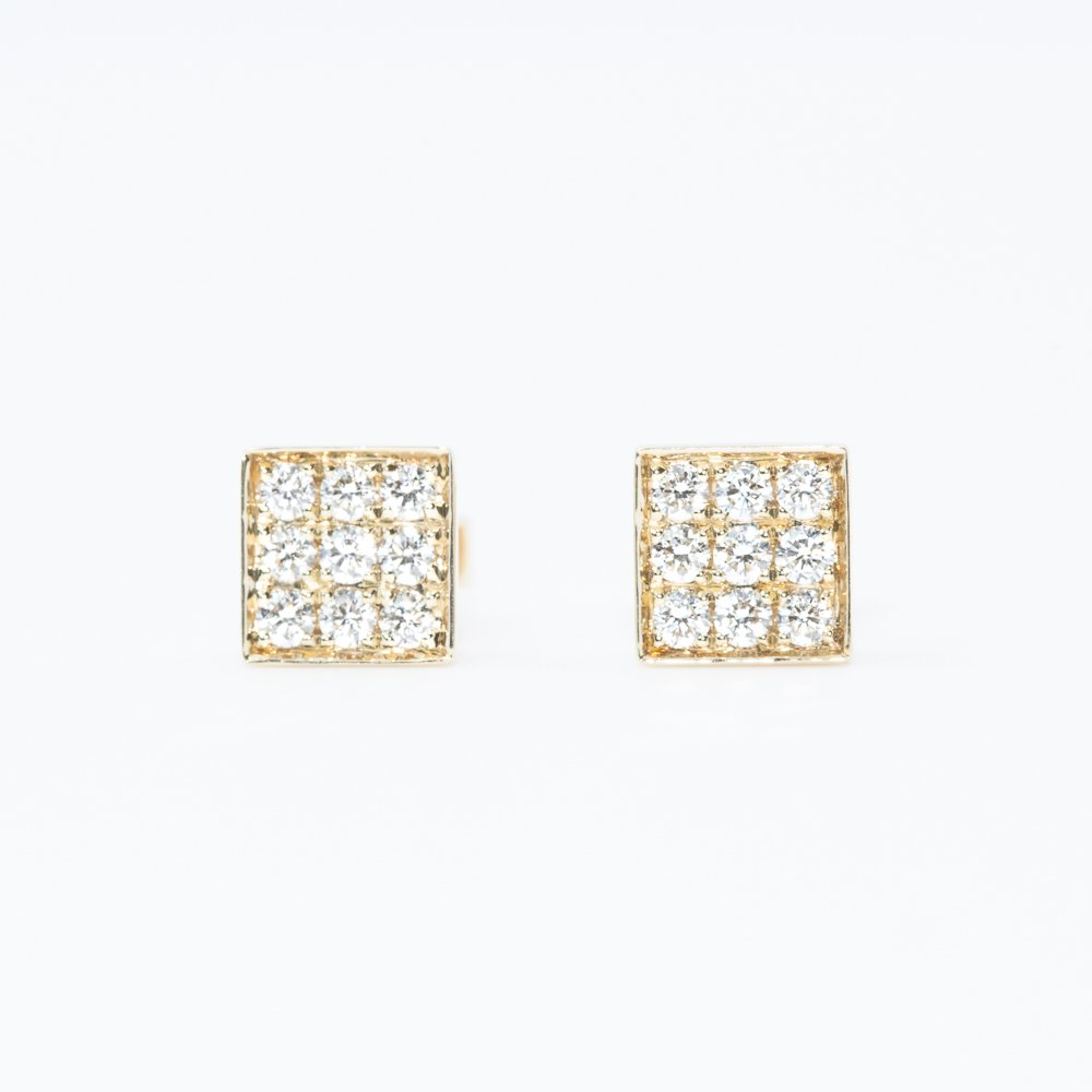 14k Yellow Gold Natural Diamond Square Stud Earrings
