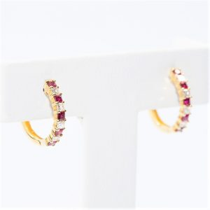 14k Yellow Gold Natural Ruby and Diamond Hoop Earrings