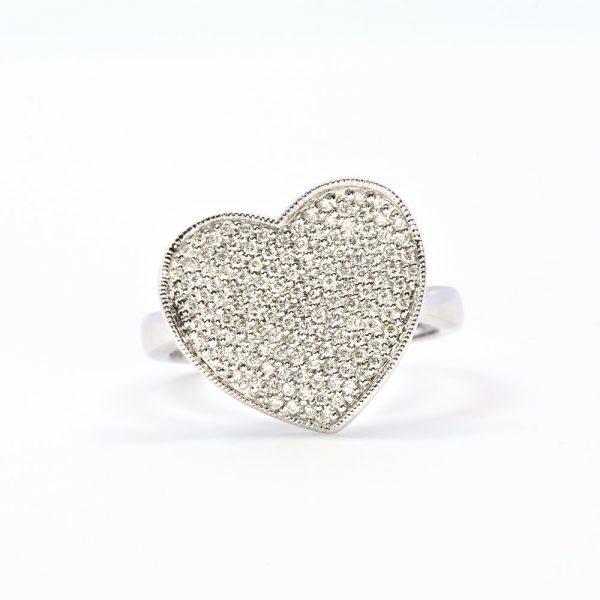 14k White Gold Natural Diamond Pave Heart Ring