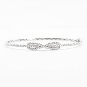 18k White Gold Natural Diamond Infinity Bangle Bracelet