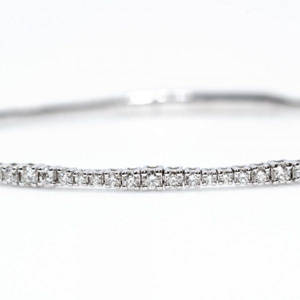 14k White Gold Natural Diamond Flexible Bangle Bracelet