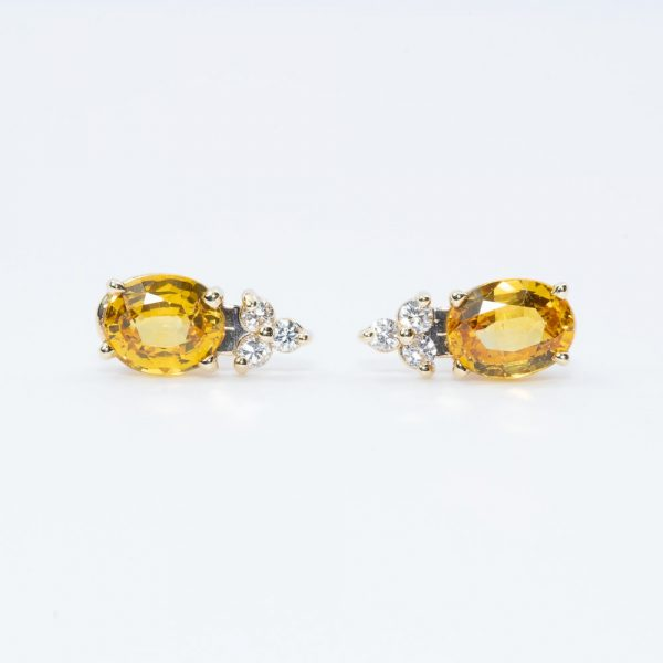 14K Yellow Gold Natural Yellow Sapphire and Diamond Earrings