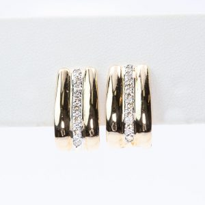 14k Yellow Gold Natural Diamond Huggee Earrings