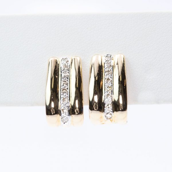 14k Yellow Gold Natural Diamond Huggee Earrings