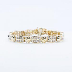 14K Yellow Gold Natural Diamond Link Tennis Bracelet