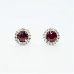 14k White Gold Natural Ruby and Diamond Halo Stud Earrings
