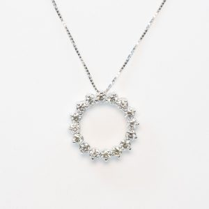 18k White Gold Natural Diamond Circle of Love Pendant Slide