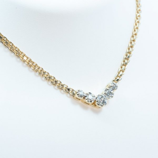 14k Yellow Gold Natural Diamond 5 Stone Necklace