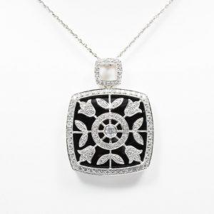 18k White Gold Black Onyx and Natural Diamond Pendant