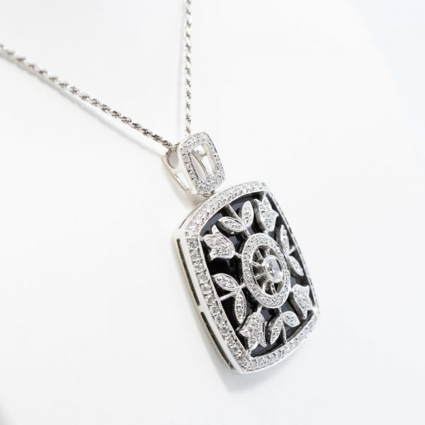 18k White Gold Black Onyx and Natural Diamond Pendant
