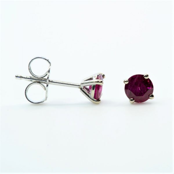 14k White Gold Natural Ruby Stud Earrings