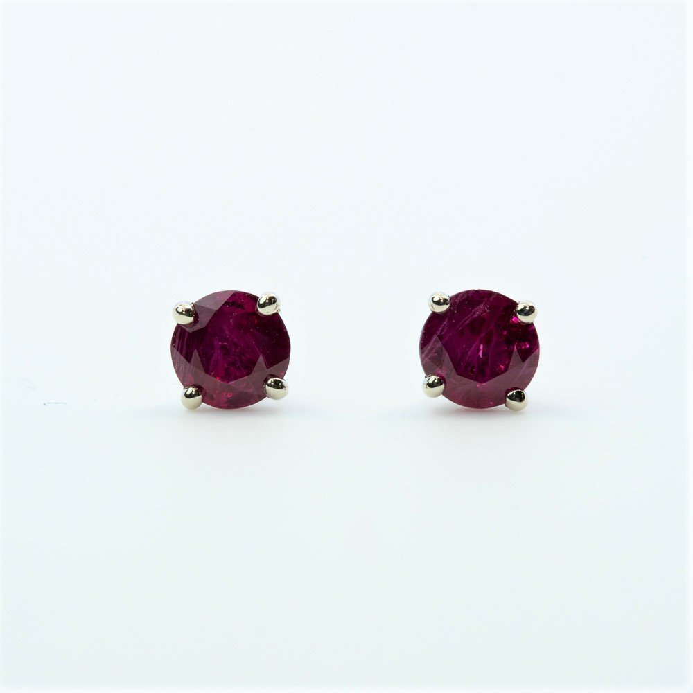 14k White Gold Natural Ruby Stud Earrings
