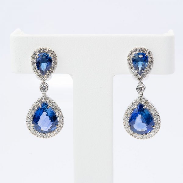 18k White Gold Natural Sapphire and Diamond Halo Earrings