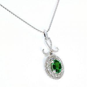18k White Gold Natural Tsavorite Garnet and Diamond Double Halo Pendant