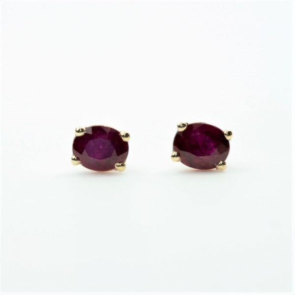 14k Yellow Gold Natural Ruby Stud Earrings