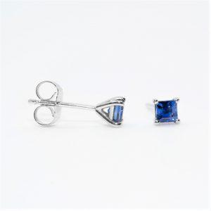 14k White Gold Natural Blue Sapphire Stud Earrings