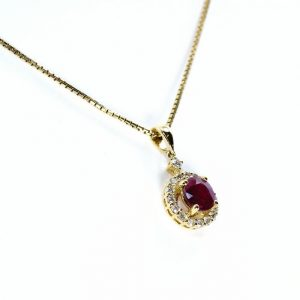 14k Yellow Gold Natural Ruby and Diamond Halo Pendant