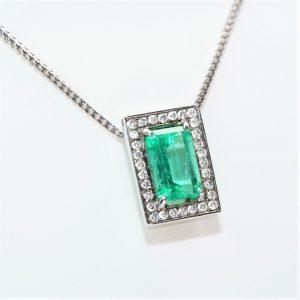 18k White Gold Natural Emerald and Diamond Custom Halo Pendant