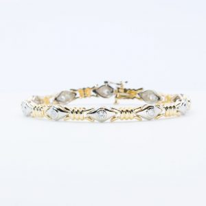 14k Yellow and White Gold Natural Diamond Link Bracelet