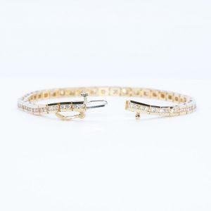 14K Yellow Gold Natural Diamond Line Tennis Bracelet