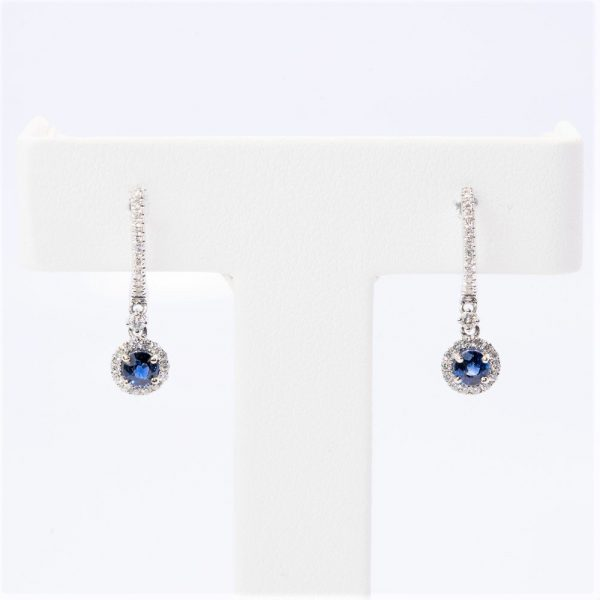 14k White Gold Natural Blue Sapphire and Diamond Halo Dangle Earrings