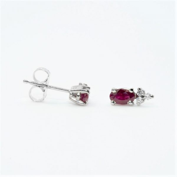 14k White Gold Natural Ruby and Diamond Earrings