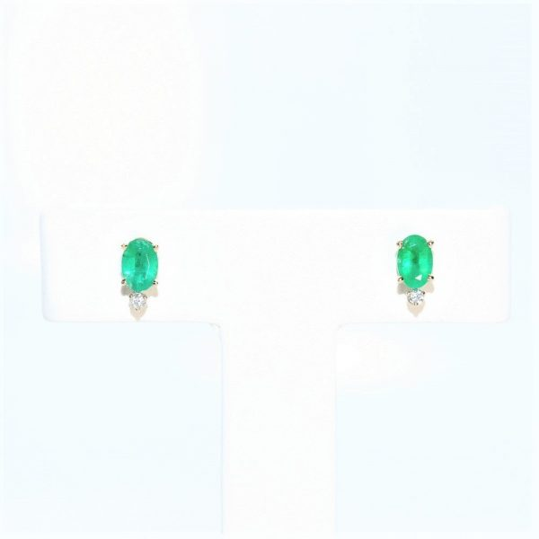 14k White Gold Natural Emerald and Diamond Stud Earrings