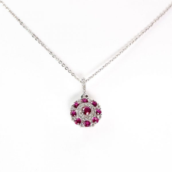 14k White Gold Natural Ruby and Diamond Cluster Pendant