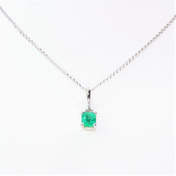 14k White Gold Natural Emerald and Diamond Pendant