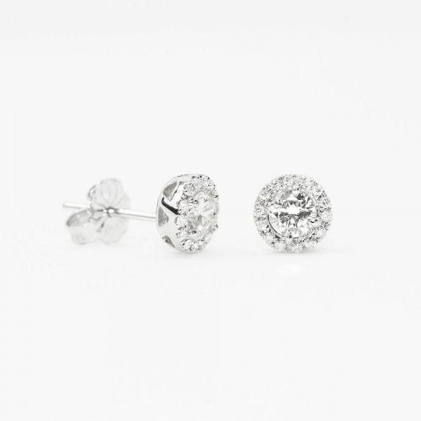 14K White Gold Natural Diamond Halo Stud Earrings