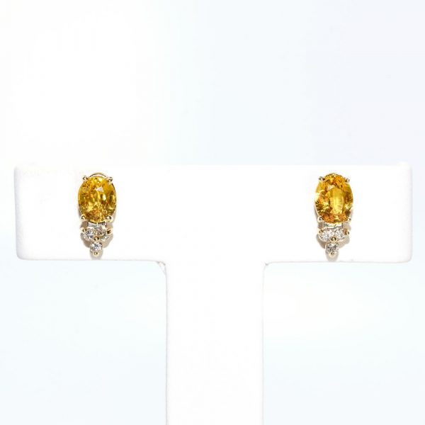 14K White Gold Natural Yellow Sapphire and Diamond Earrings
