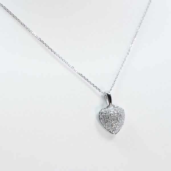 14K White Gold Natural Diamond Pave Heart Necklace