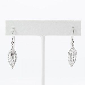 Platinum Natural Diamond Dangle Earrings