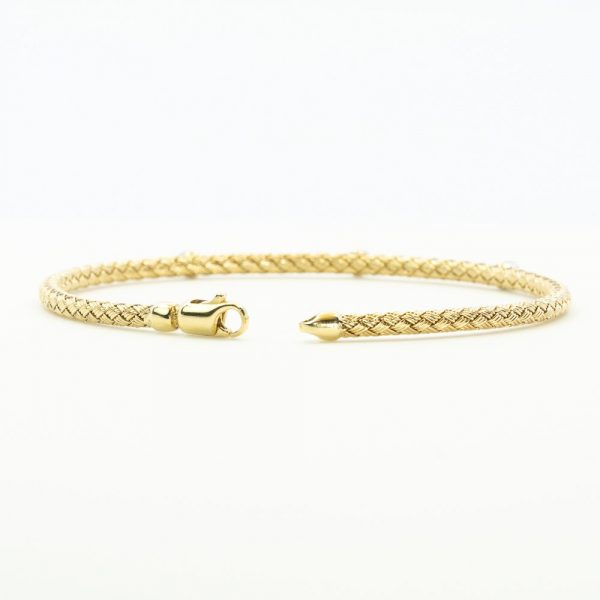 14k Yellow and White Gold Diamond Flexible Woven Bracelet