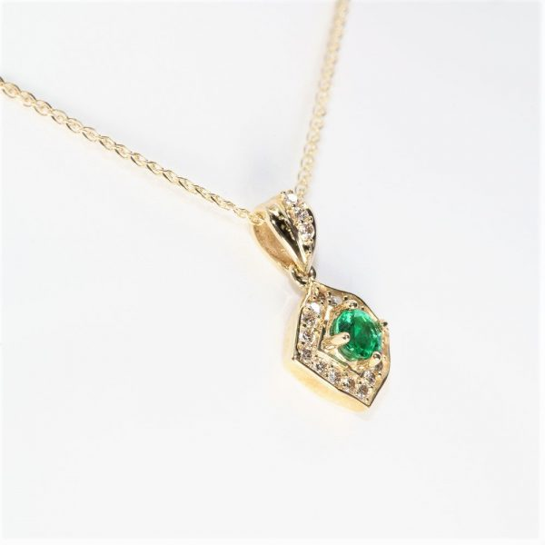 14k Yellow Gold Natural Emerald and Diamond Halo Pendant