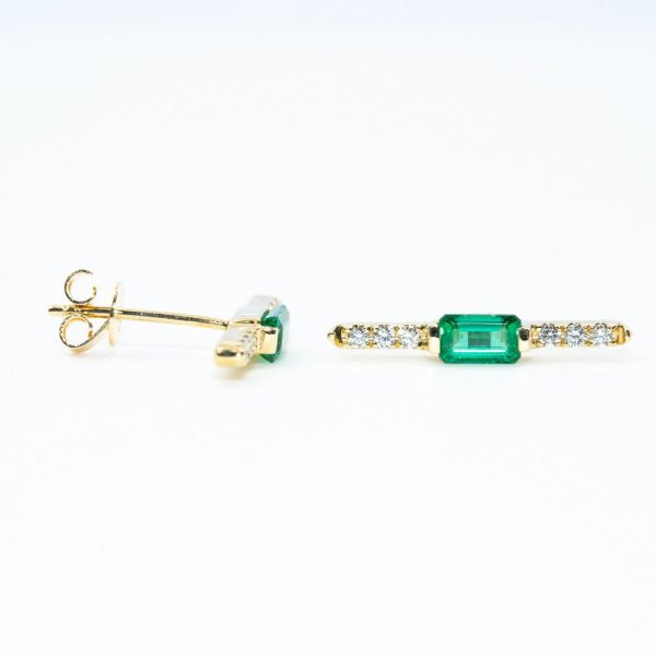 14k Yellow Gold Natural Emerald and Diamond Bar Earrings