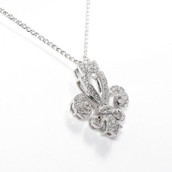 18kt White Gold Natural Diamond Fleur de Lis Necklace