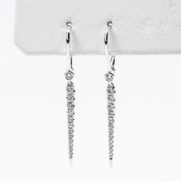 18k White Gold Natural Diamond Dangle Spike Earrings