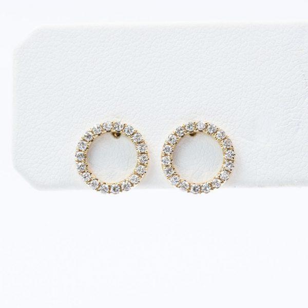 14k Yellow Gold Natural Diamond Full Circle Earrings