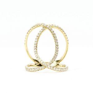18k Yellow Gold Natural Diamond Connecting Circles Ring