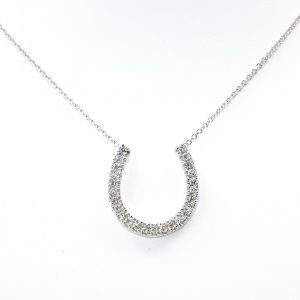 14k White Gold Natural Diamond Horseshoe Necklace with Cable Chain