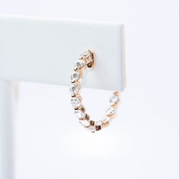 18k Rose Gold Natural Diamond Hoop Earrings
